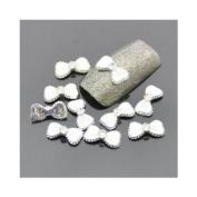 "12mm ""Diamond & White Bow"" 3D DIY Alloy Decoration x 10pcs CODE"