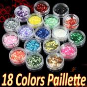 350buy 18 Rainbow Colour Octagon Acrylic Glitter Powder Palette for Nail Art Decoration