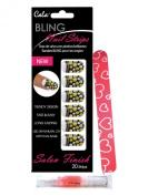 Cala Nails Strips 20 Nail Stickers Gold/Silver/Polka Dot Bling 86898 + Aviva Cuticle Jojoba Oil + Pink Eco Nail file 18cm