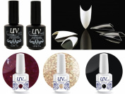 Cala 100 Nail Tips Stiletto Clear #87-128C+UV-Nail Glitter Gel GL1,GL4,G1+Top & Base Coat