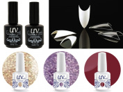 Cala 100 Nail Tips Stiletto Clear #87-128C+UV-Nail Glitter Gel GL2,GL4,G4+Top & Base Coat
