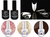 Cala 100 Nail Tips Stiletto Clear #87-128C+UV-Nail Glitter Gel GL3,GL4,G3+Top & Base Coat