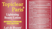 Topiclear Paris Lightening Beauty Lotion