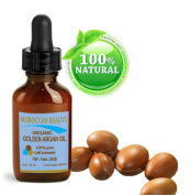 Moroccan Beauty Golden Argan Oil, 100% Pure, Cold Pressed, Certified Organic, for Professional Use. 1 Oz-30 Ml