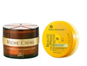 Yves Rocher FRANCE Riche Creme Wrinkle Smoothing Eye Creme with 30 Precious Oils, 15ml jar (+50 years). + Yves Rocher FRANCE Riche Creme Wrinkle Smoothing Day Cream with 30 Precious Oils, 50ml (+50 years) & Beautiful Hands Cream with Organic Arnica enrich