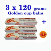 Lot3 X 120g. Counterpain Musclar Pain Tension Relief Haet Analgsic Warm Blam+golden Balm Cup