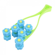 Rosallini Green Blue Handheld Plastic Rolling Flowers Face Massage Roller