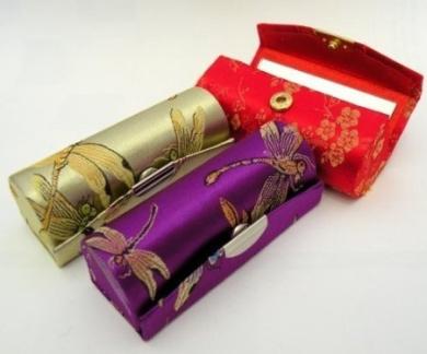 Random Assorted Colours--Lipstick Case 3pcs Set Lipstick Case w/Mirror,Satin Silky Fabric With Floral Prints Assorted 8.9cm L x 3.2cm W Holds 1pc Standard Lipstick Super Value(We will Random Colours)