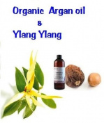 Organic Argan Oil 100 % Pure Cold Pressed with Ylang Ylang for Combination or Oily Skin, Damaged Hair - 1oz