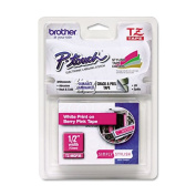 """TZ Standard Adhesive Laminated Labeling Tape, 1/2"""" x 16.4 ft., White/Berry Pink"""