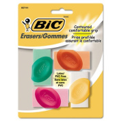 Bic ERSGP41AST Eraser with Grip Assorted Colors 4-Pk