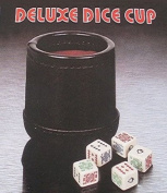 Deluxe Leather Like Dice Cup with 5 Poker Dice - Black/Cream Colour