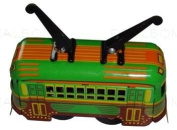 tin toys wind up metal classic tram orange green toy