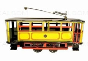tin toys wind up metal classic tram yellow orange toy