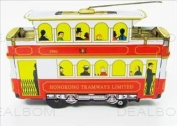 tin toys wind up 80s nostalgic metal double decker classic tram toy collection