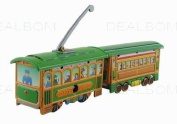 tin toys wind up metal classic double tram toy orange green