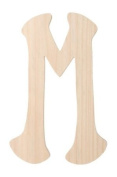 Darice 9187-M Unfinished Wood Embellishment, Letter M, Special Font