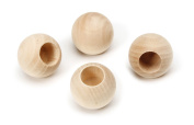 Darice 9123-60 Natural Unfinished Wood Craft Ball with Hole, 2.5cm
