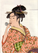 Ukiyo-e Beautiful Woman Cross Stitch Kit 4 - Blowing Glass Toy by Utamaro [Toy]