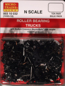 Micro-Trains N Scale - 10 Pack - #1033 - Roller Bearing Trucks With Medium RDA Couplers MT-003-10-032