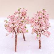 Model Tree Train Pink Flowers Set Scenery Landscape OO HO - 10PCS