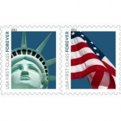 USPS Forever Postage Stamps - Lady Liberty and U.S. Flag - 100 Stamps