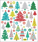 Multi-Coloured Stickers-Glitter Christmas Trees