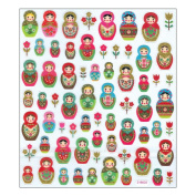 Multi-Coloured Stickers-Russian Dolls Glitter 206525 Notions - In Network
