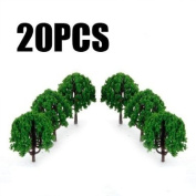20pcs 7.6cm Scenery Landscape Train Model Trees Scale 1/100--Made of Plastic Cement