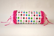 Bacati - Botanical Sanctuary Multicolor Pink Pearl String Neck Roll Pillow