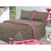 Pink Cookie Twin Sheet Set Peace and Love