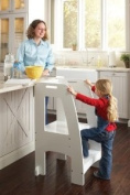 Holds Up To 90kg - GUIDECRAFT Kids Kitchen Helper Safety Tower Step Stool, White