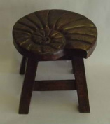 Nautilus Shell Hand Carved Wooden Foot Stool in Dark Stain Finish