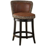 Armen Living Lisbon 80cm . Contoured Back Bar Stool with Leopard Print - Espresso