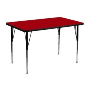 30''W x 48''L Rectangular Activity Table with Red Thermal Fused Laminate Top and Standard Height Adjustable Legs [XU-A3048-REC-RED-T-A-GG] by Belnick Inc.
