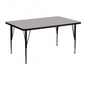 30''W x 48''L Rectangular Activity Table with 1.25'' Thick High Pressure Grey Laminate Top and Height Adjustable Pre-School Legs [XU-A3048-REC-GY-H-P-GG]