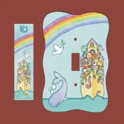 Noah's Ark Switch Plate and Mezuzah Combo