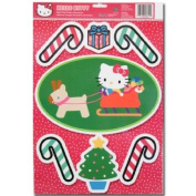 Hello Kitty Christmas Holiday Red Static Cling Window Decoration