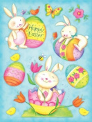 Holographic Foil Easter Clings 30cm x 43cm Reusable Vinyl Static Window Cling Cutouts - Easter Eggs and Bunnies