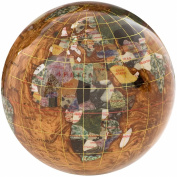 Alexander Kalifano GPW110G-CPR 4 in. Gemstone Globe Paperweight - Copper Amber Ocean