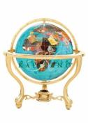 Alexander Kalifano GT110G-BB 10cm Gemstone Globe with Gold Coloured Commander 3-Leg Table Stand - Bahama Blue Ocean