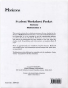 Alpha Omega Publications JMW025 Student worksheet packet