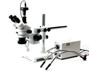 AmScope 3.5X-90X Boom Stand Zoom Stereo Microscope with Fibre Optic Dual Gooseneck and Ring Lights + 10MP Digital Camera