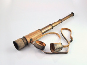 Antique maritime brass spyglass telescope with carry belt 41cm
