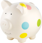 Babyprints adorable White Polka-Dot PIGGY BANK -