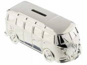 Silver Plated Camper Van Money Box - Christening New Baby Boy Gift