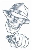 Stick up Skull Prison Temporary Tattoo