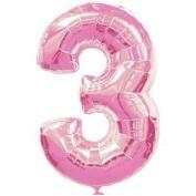 Number 3 Pink Supershape Foil Balloon 60cm X 90cm