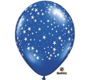28cm Stars Around Sapphire Blue Latex Balloons - Package of 12