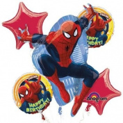 Ultimate Spiderman Happy Birthday Mylar Foil Balloon Bouquet Set